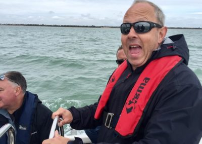 Steve - After sailing with me, he wants to buy a power boat.